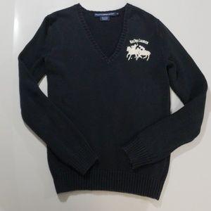 Ralph Lauren Sport Navy V-Neck Sweater Sz M